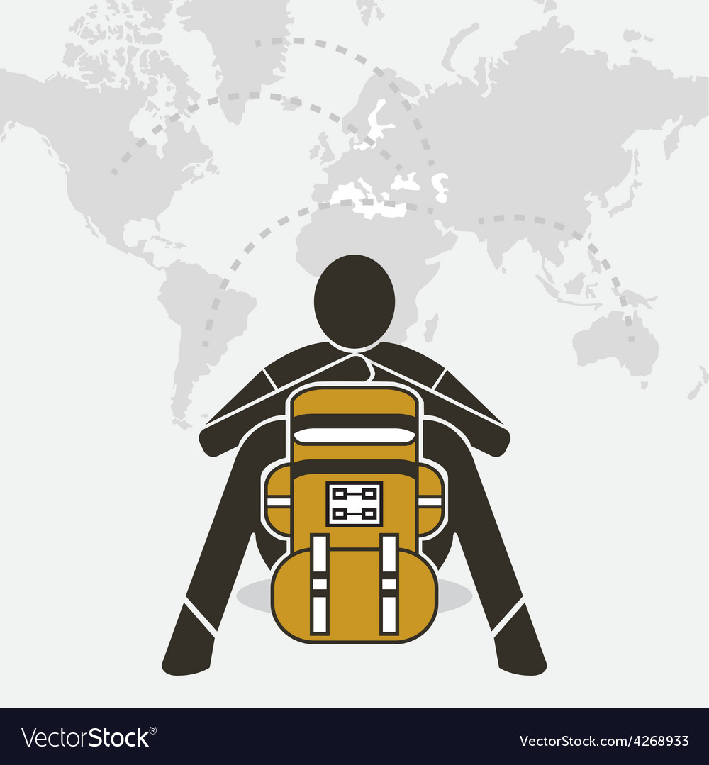 Backpacker sit relax on world map Royalty Free Vector Image 1b3da4e245