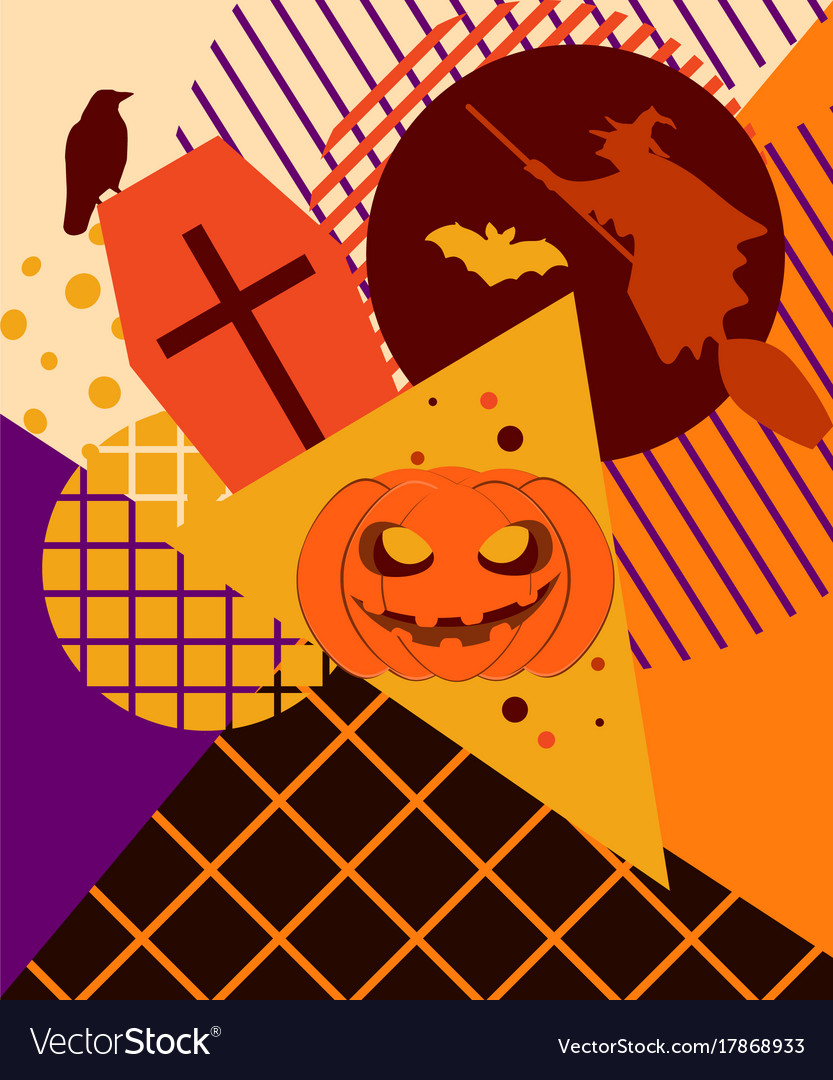halloween memphis college festive background with vector image