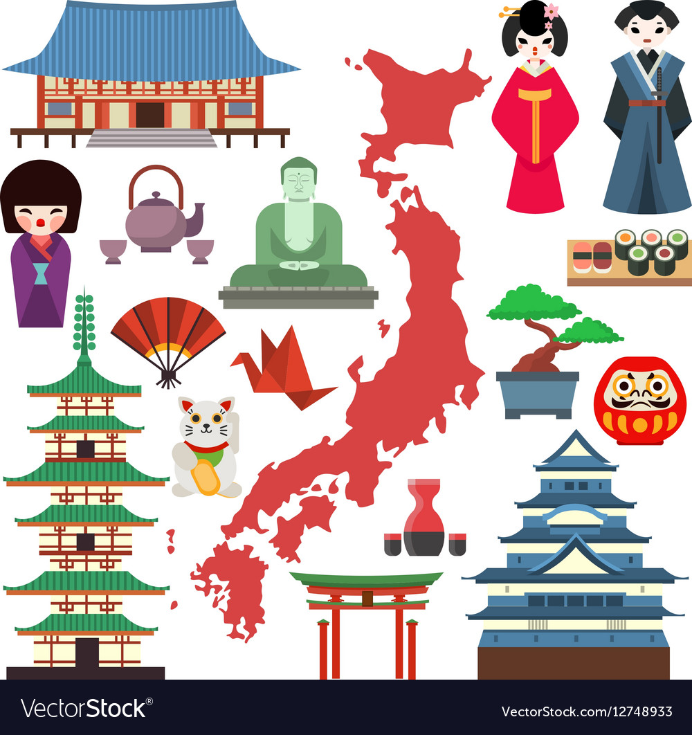 Japan culture icons Royalty Free Vector Image - VectorStock