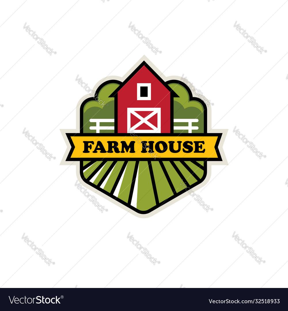 Organic farm logo with red barn