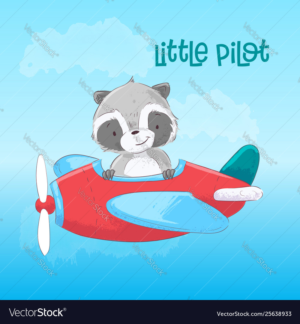 Postcard poster cute raccoon on plane in