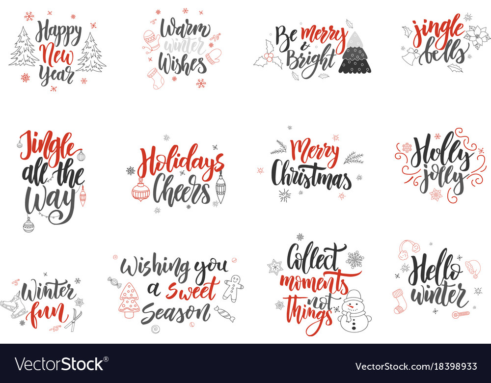 Christmas Greeting Cards Design.Set Of Christmas Greeting Cards Hand Drawn Design