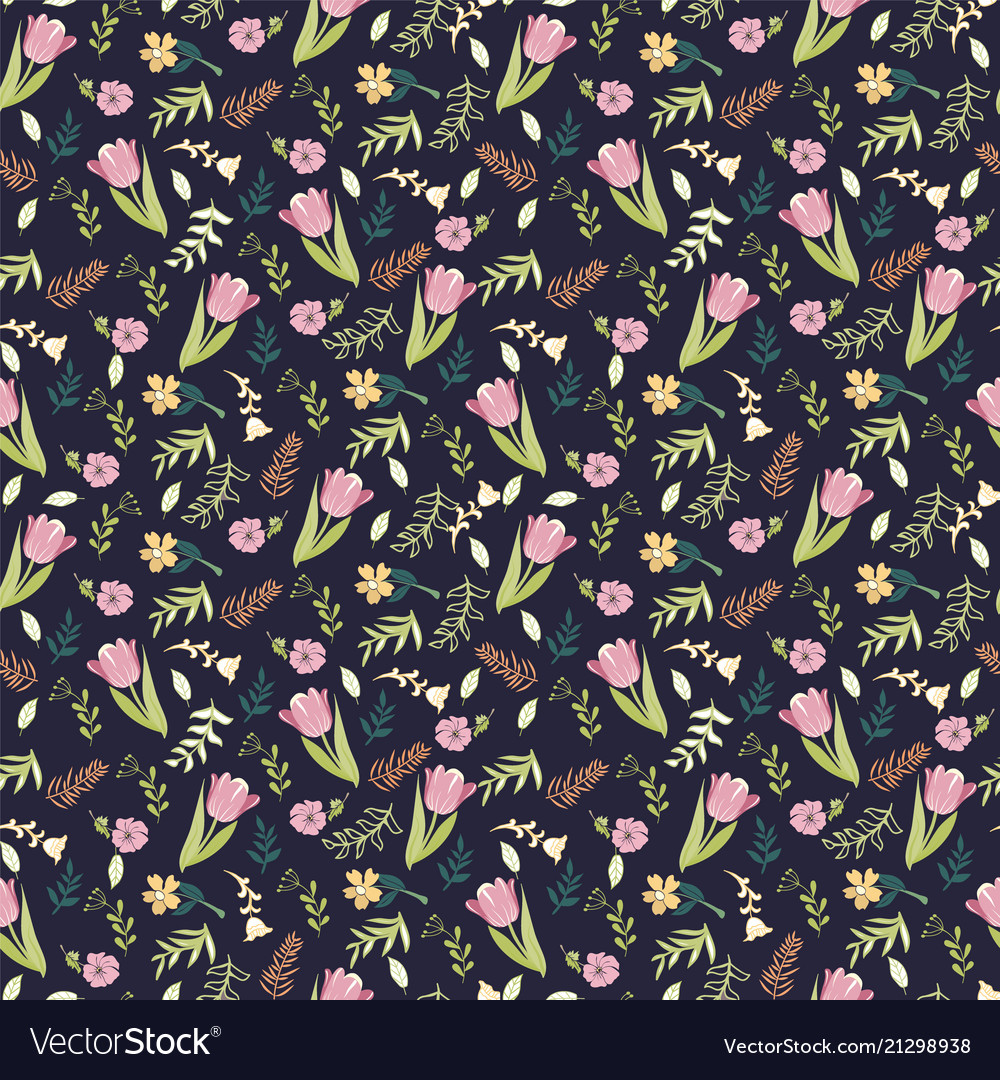 Background with tulips and wild flowers