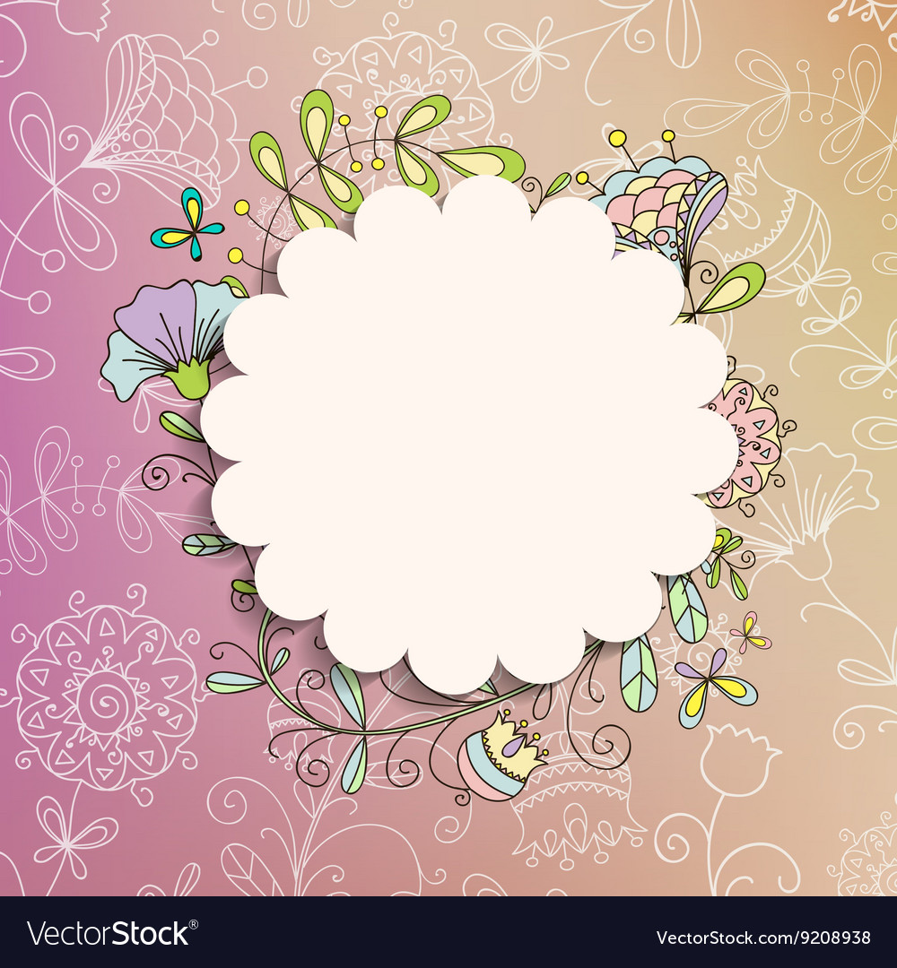 Card or invitation with painted flowers vector image