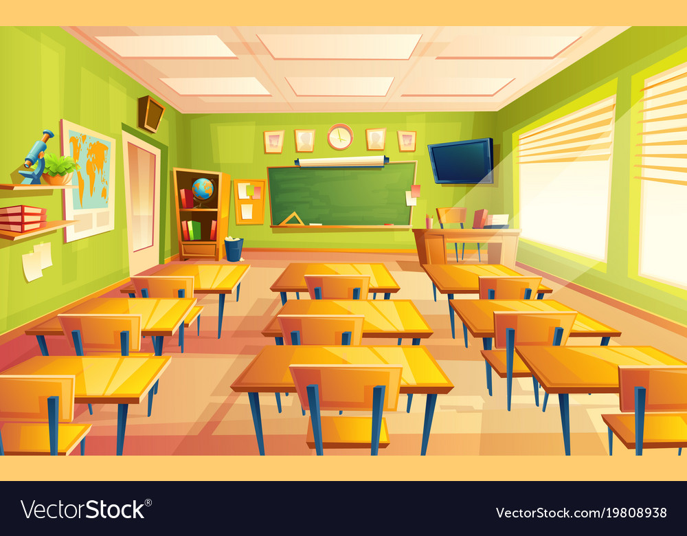 Classroom Design That Works Every Time ~ Cartoon empty school college classroom royalty free vector