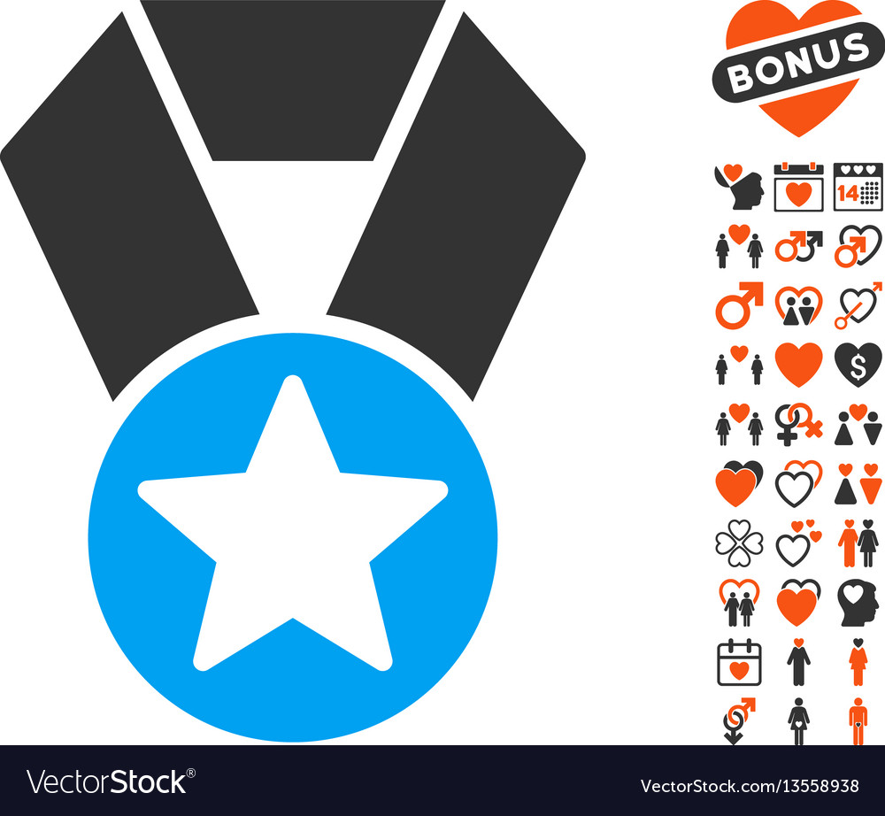Champion medal icon with lovely bonus vector image