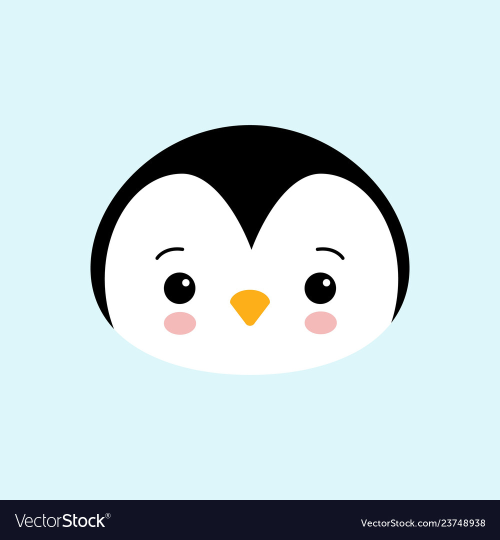 Cute baby penguin standing on blue background