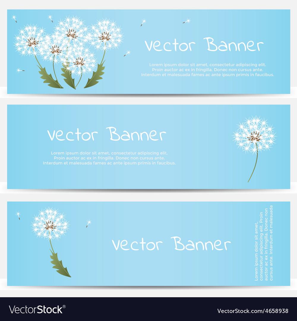 Dandelion banner on blue background