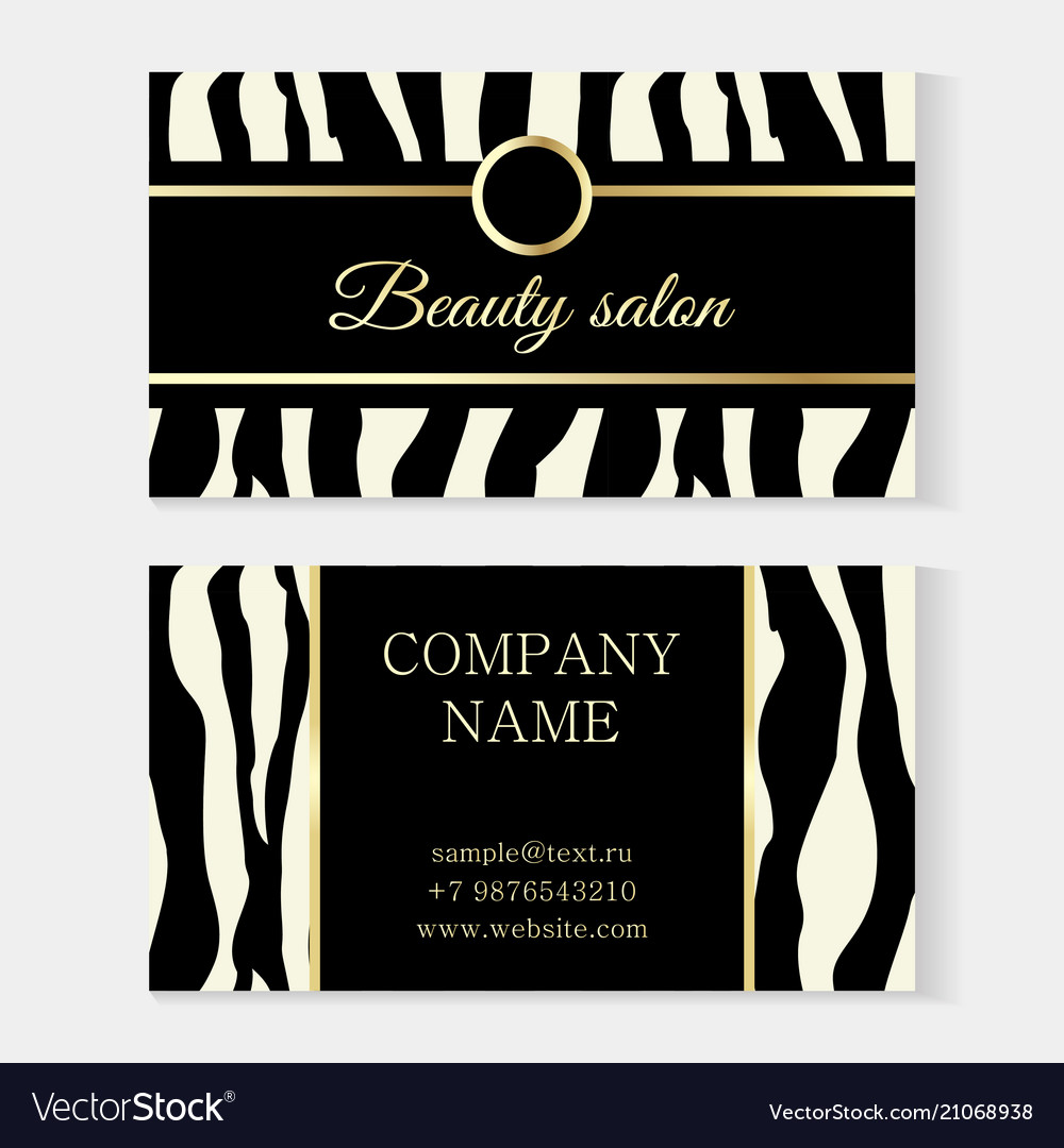 Fashion beauty salon template business card zebra