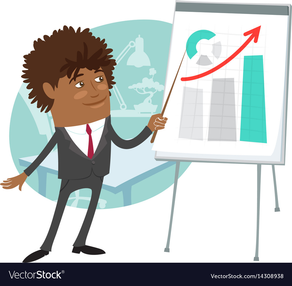 Funny black businessman wearing suit present vector image