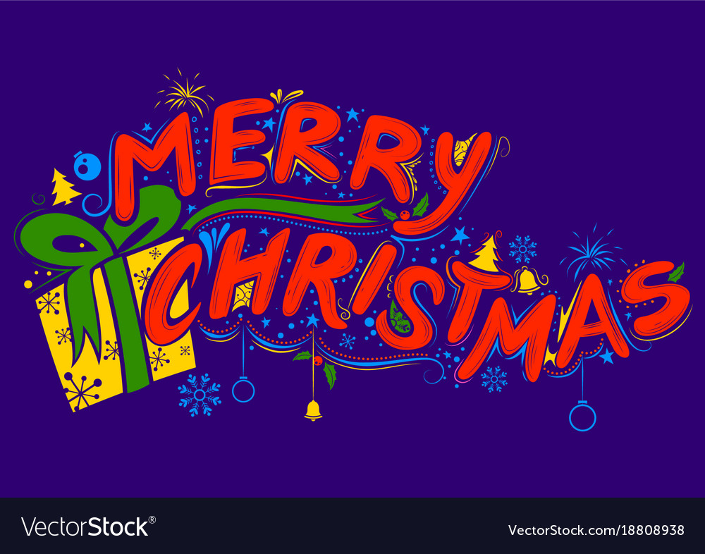 Merry christmas lettering design set typography