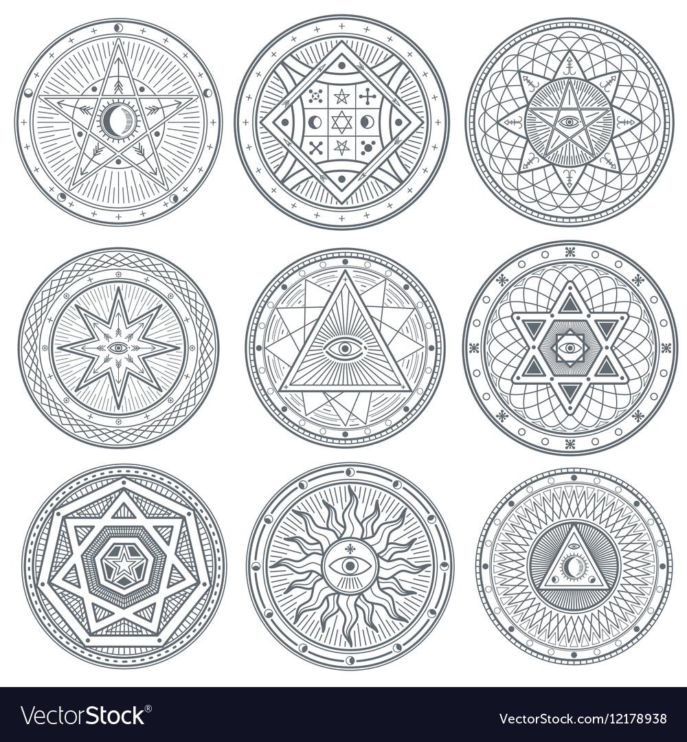 Occult mystic spiritual esoteric symbols