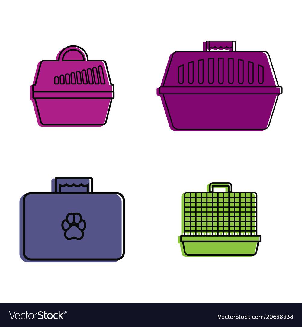 Pet bag icon set color outline style
