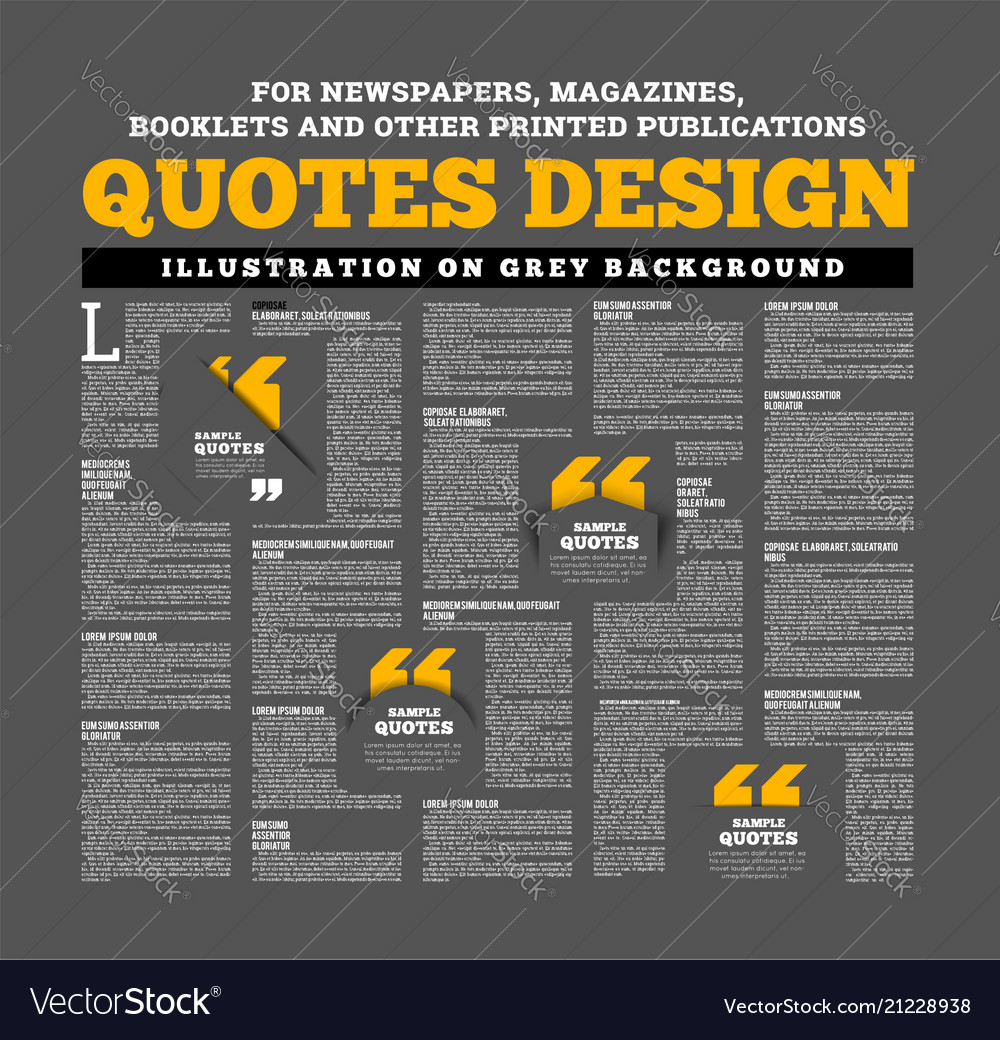 Quotes design for newspapers magazines books and