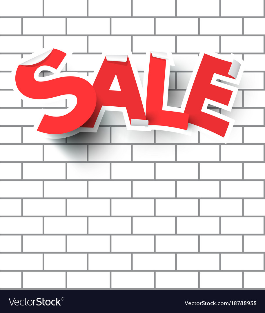 Sale text on white brick wall vector image