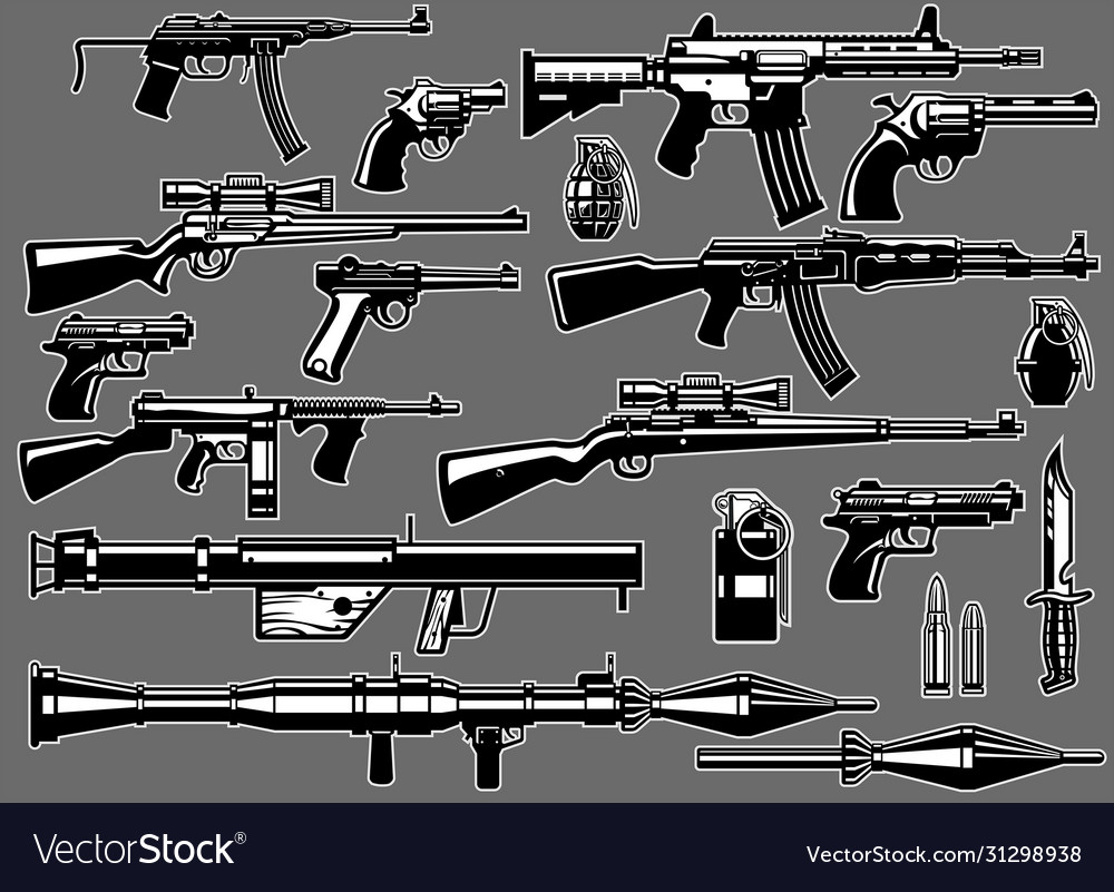Set bundle military guns and rifles
