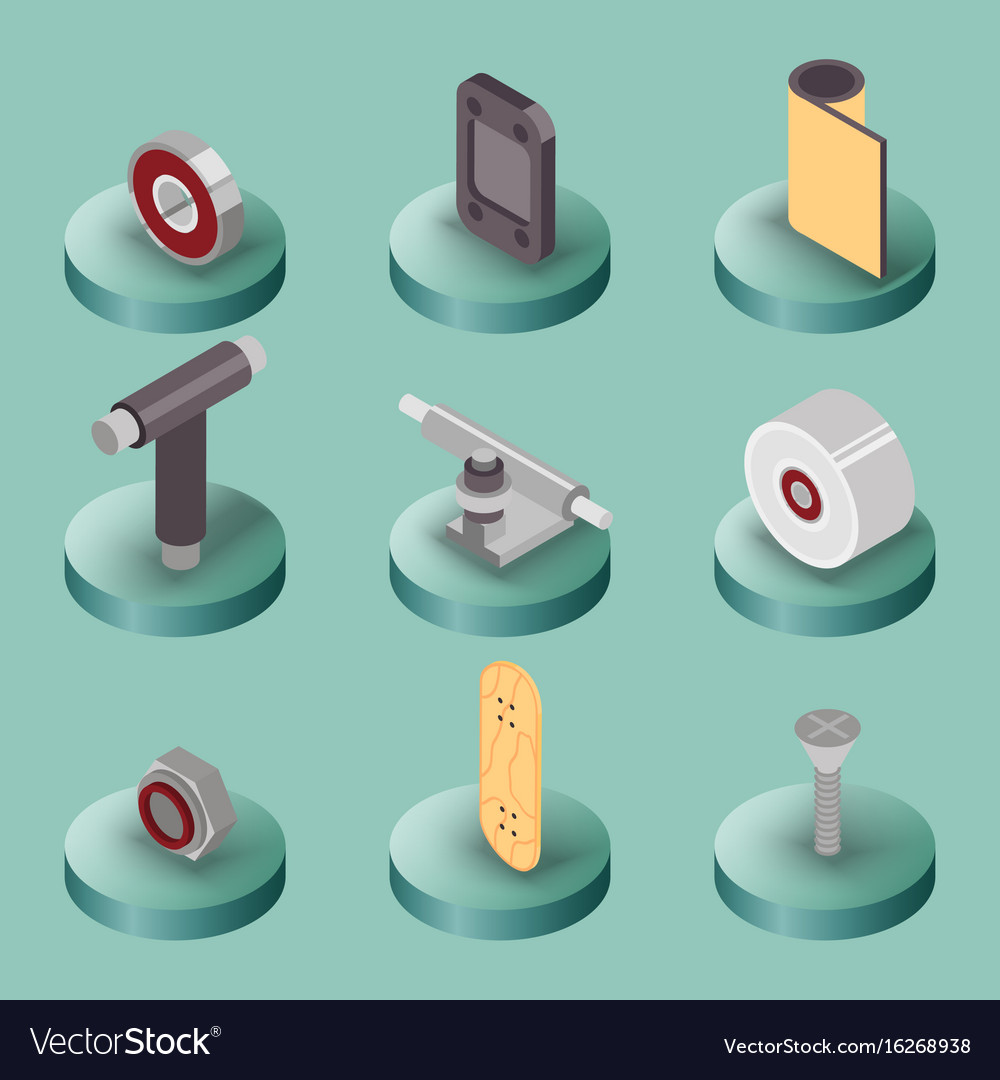 Skate flat isometric icons vector image