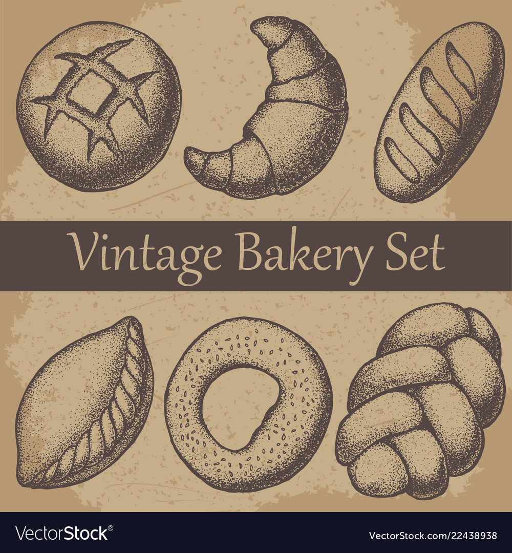 Vintage hand drawn sketch style bakery set