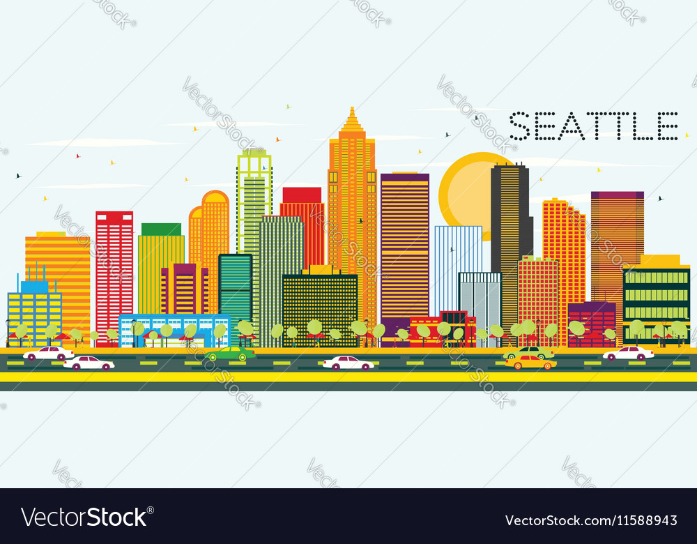 Abstract Seattle Skyline with Color Buildings