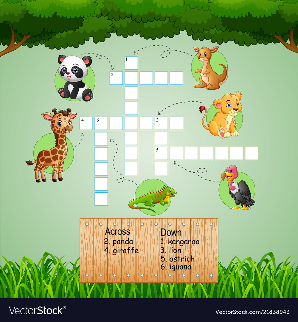 Animal crossword puzzles for kids games Royalty Free Vector