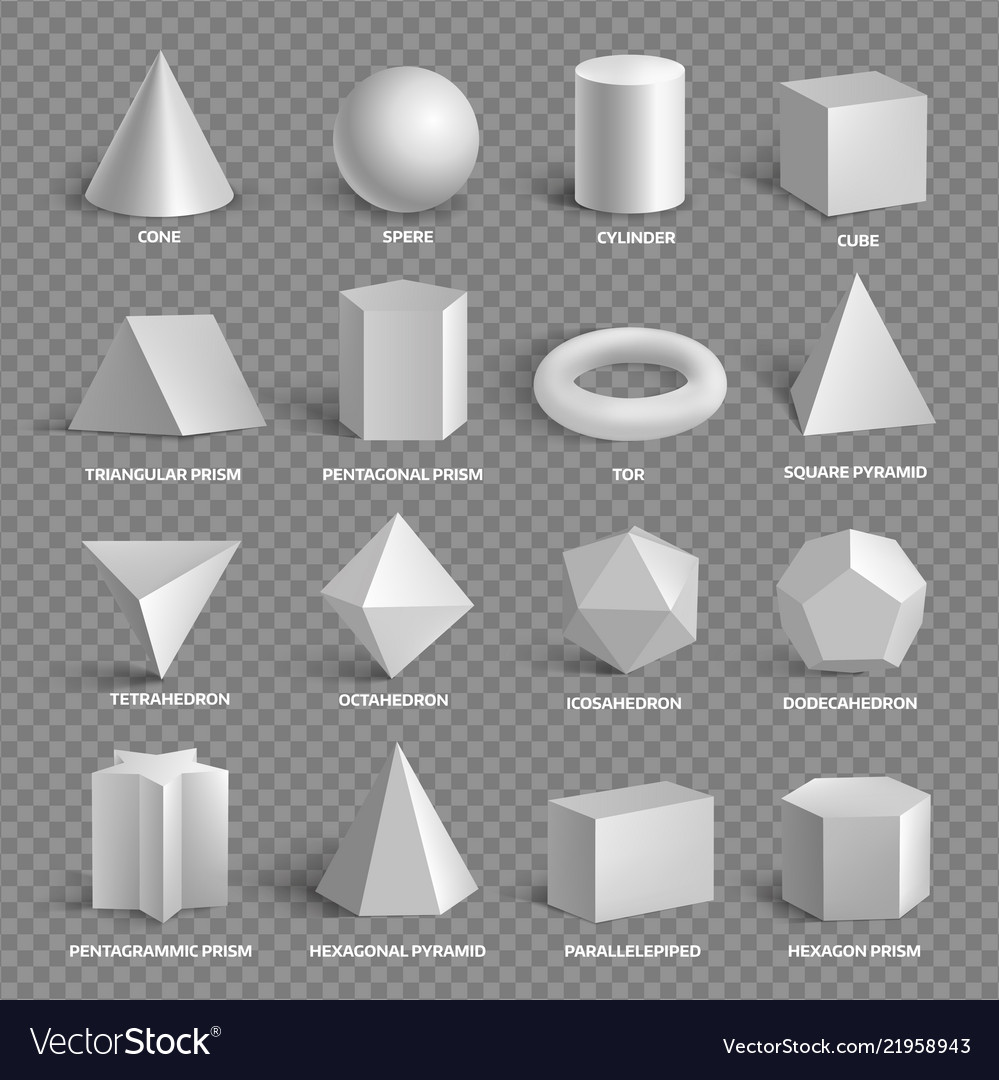 Basic 3d geometric shapes collection with names