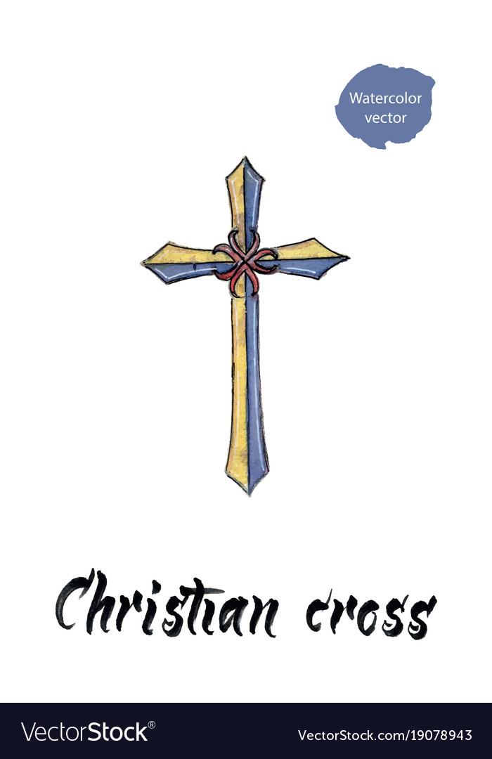Christian cross watercolor vector image