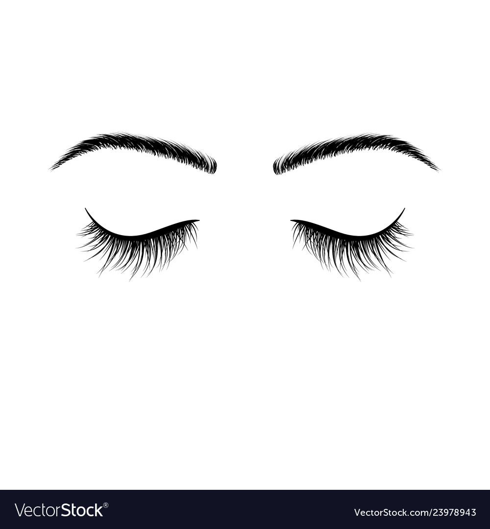 Closed eyes black eyelashes false eyelashes