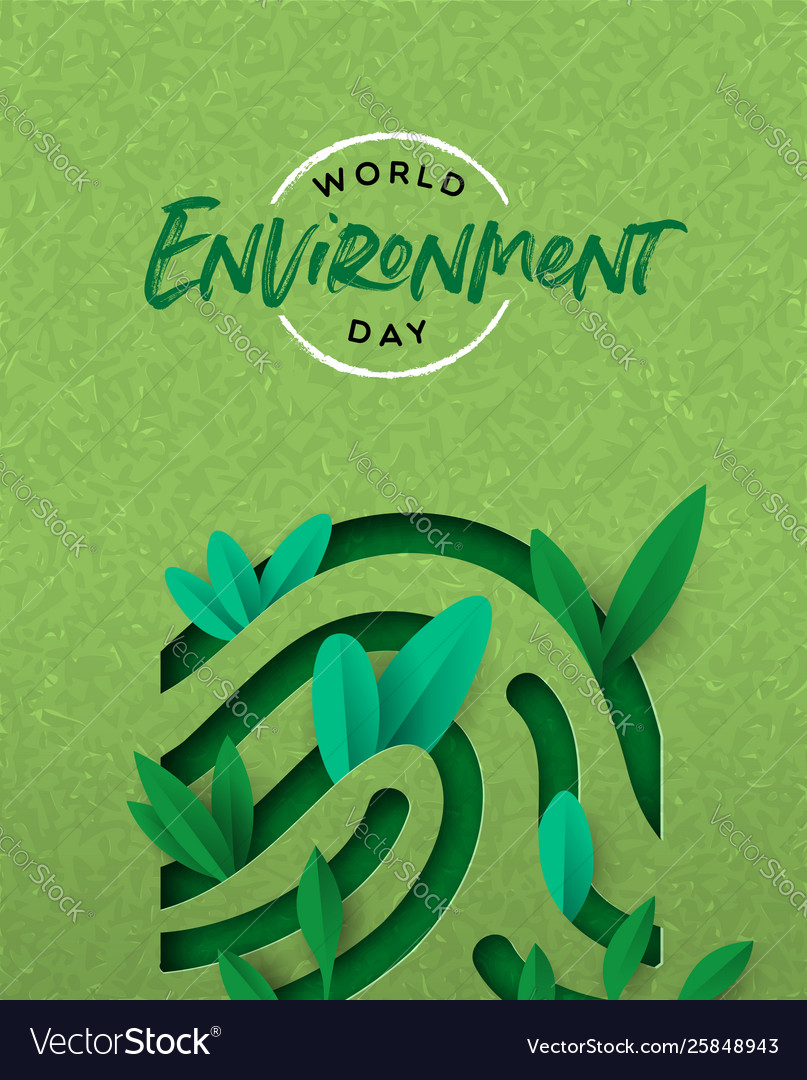 Environment day card green cutout finger print