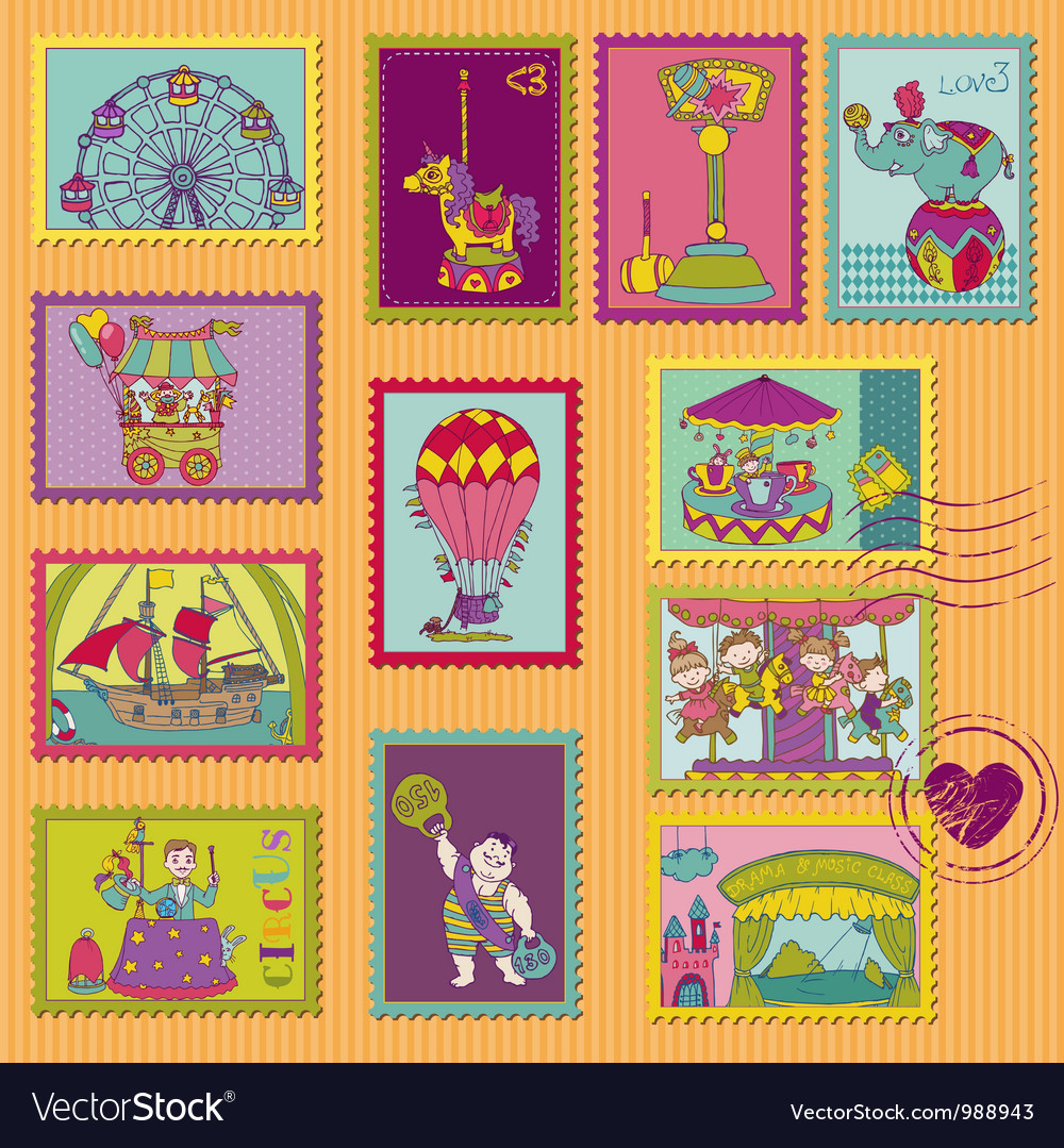 Funny Circus Postage Stamps vector image