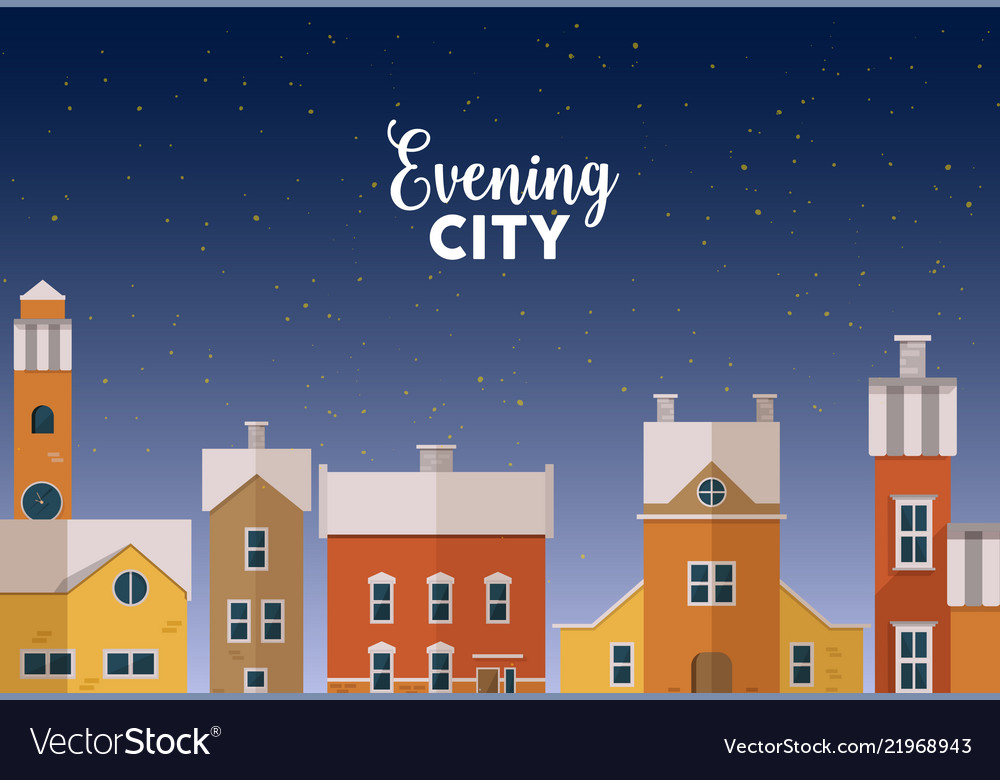 Horizontal banner template with evening winter vector