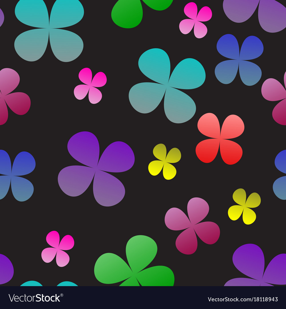 Multi-colored clover on a black background