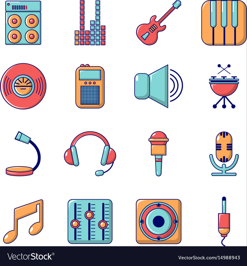 Recording studio symbols icons set cartoon style