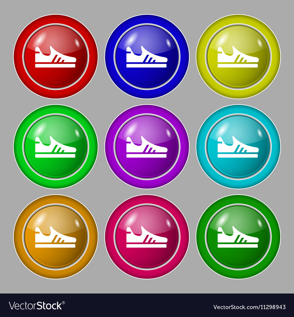 Running shoe icon sign symbol on nine round