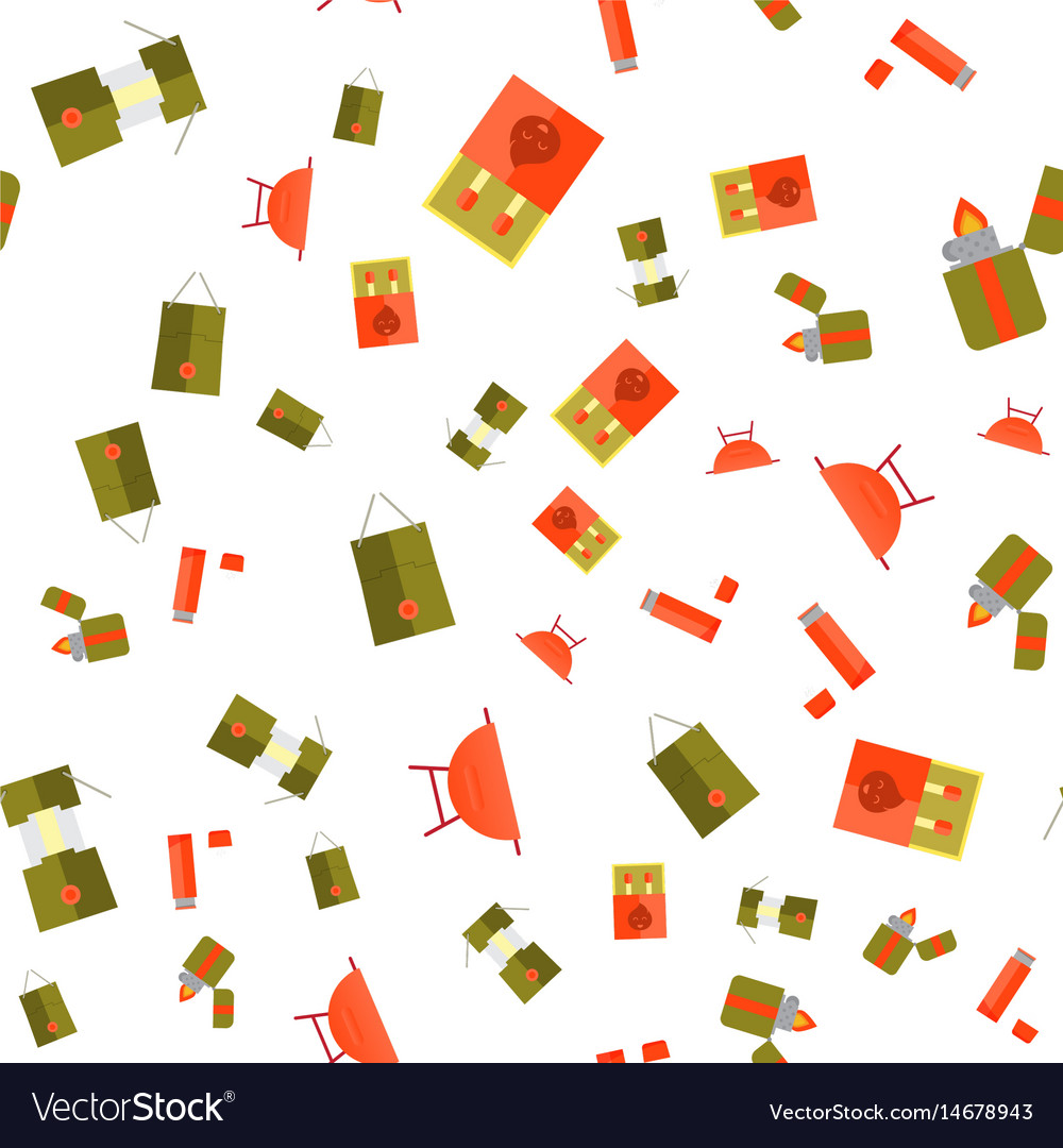 Seamless colorful flat camping background for your vector image