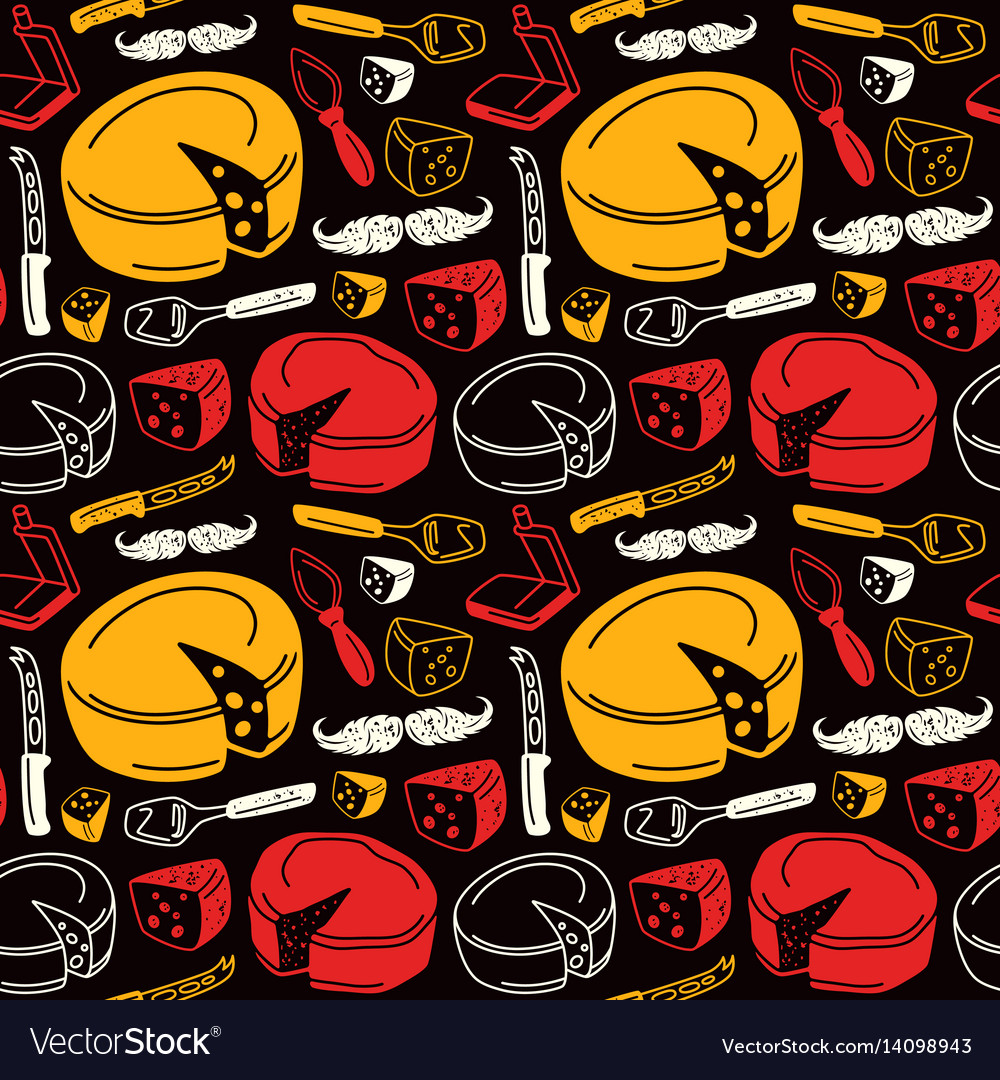 Seamless pattern with graphic image of cheese