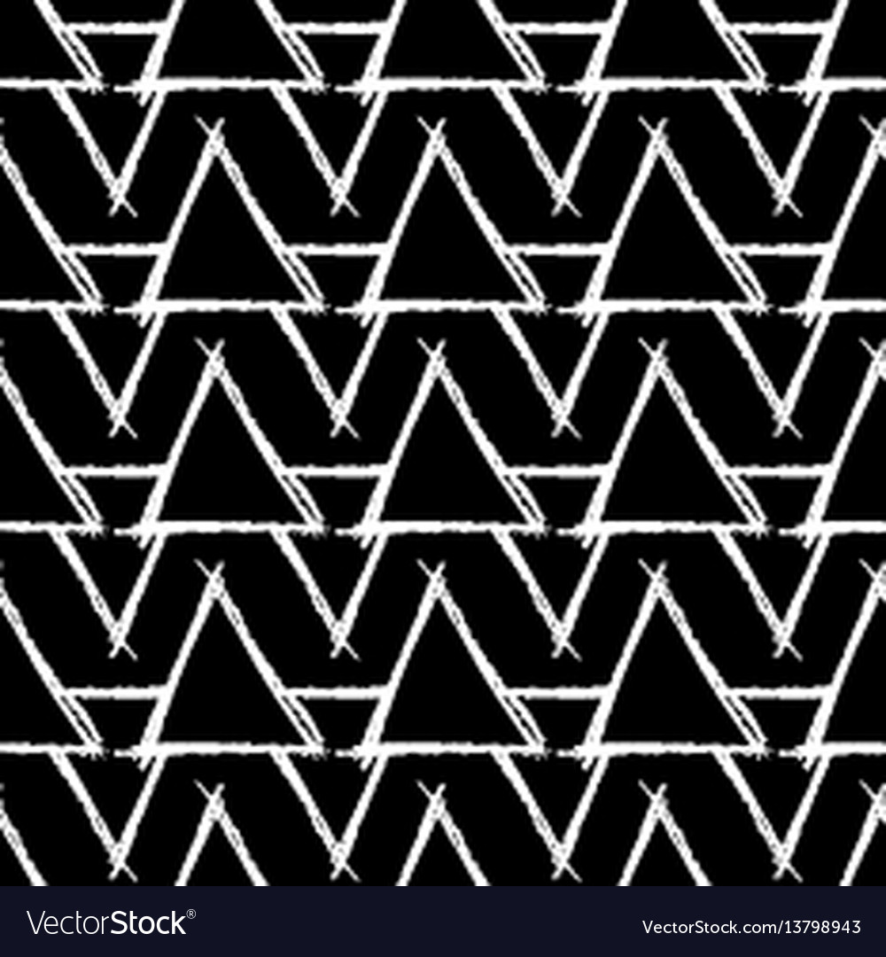 Seamless pattern with hand drawn triangles