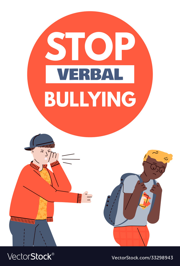 Stop verbal bullying poster with school teenagers