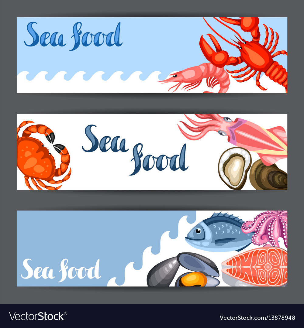 Banners with various seafood of fish