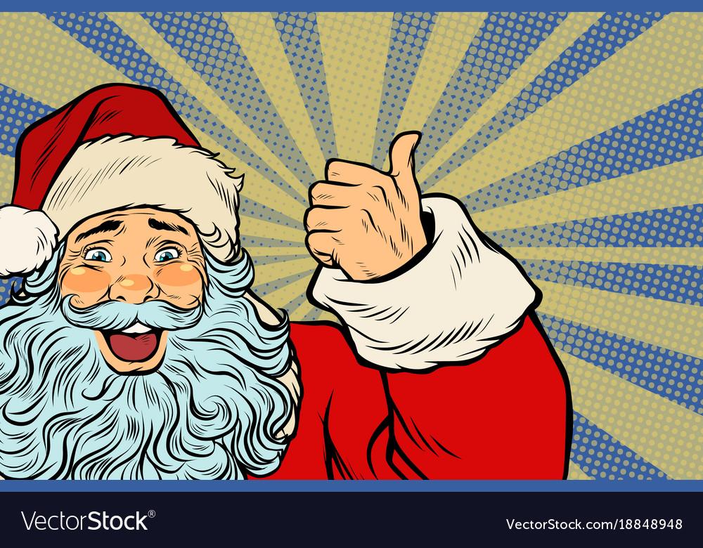 Closeup of santa claus thumbs up