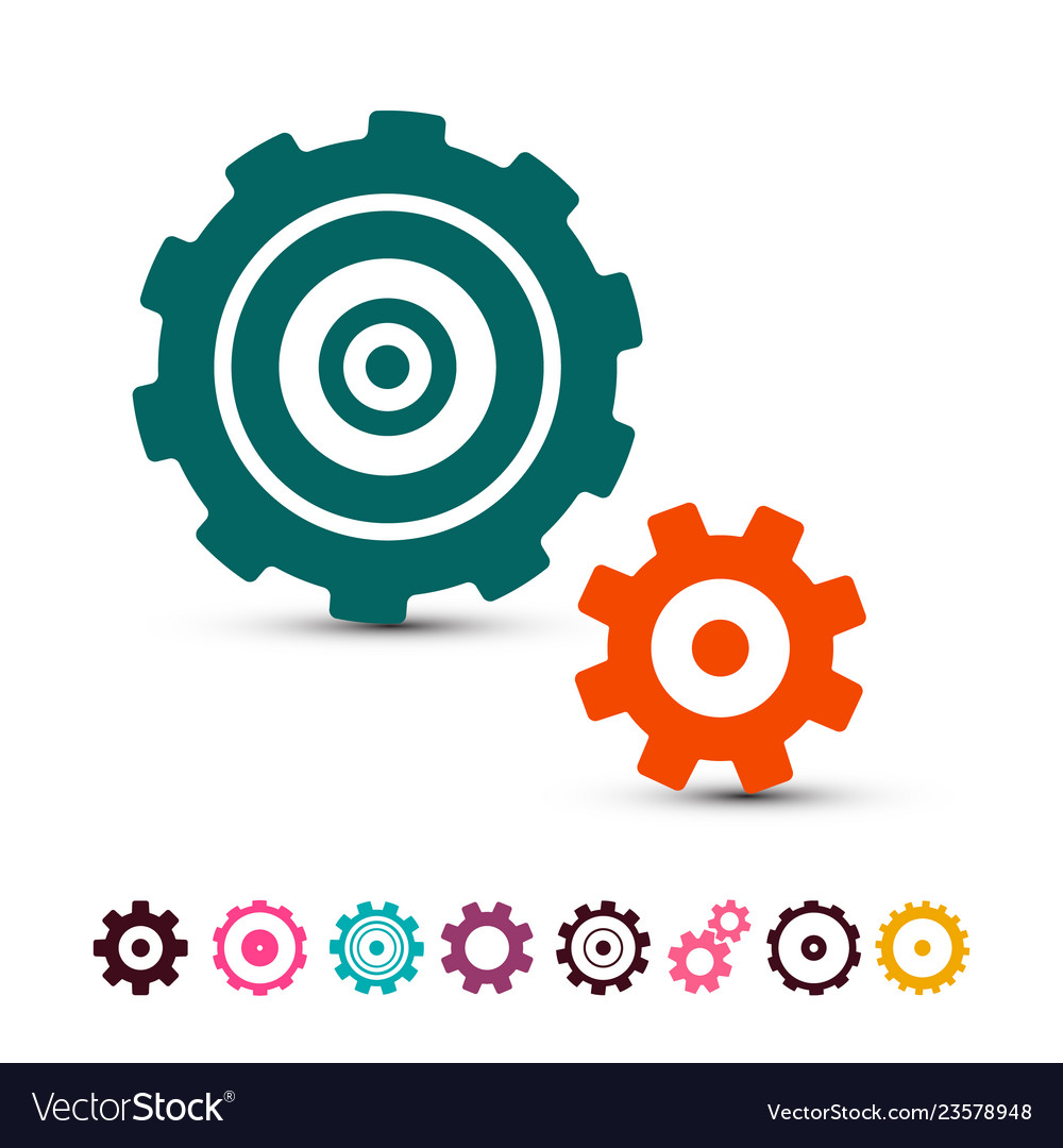 Cog gear icons set cogs gears symbols isolated on