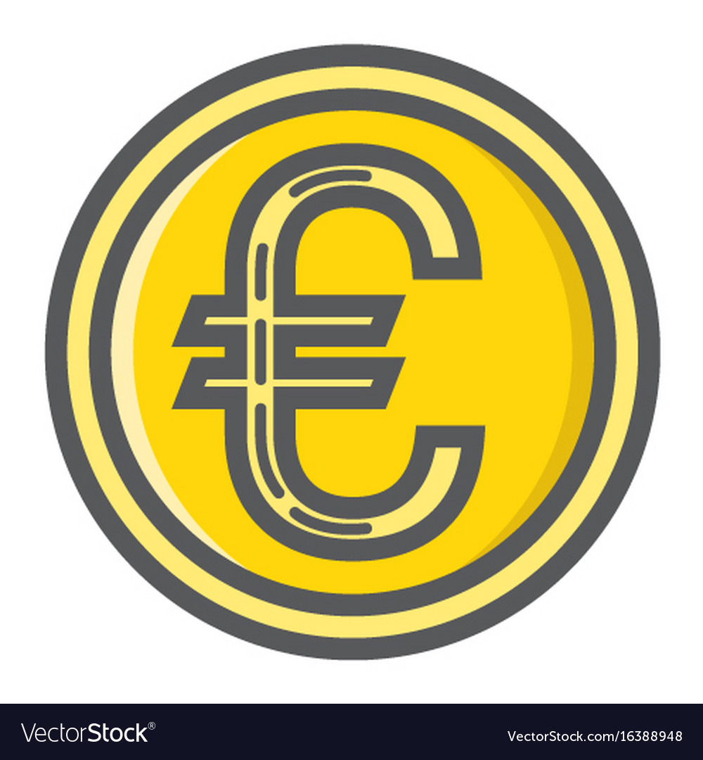 Coin euro filled outline icon business finance