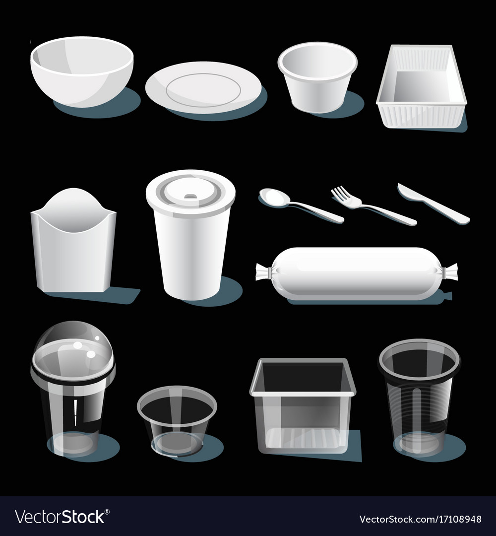 Disposable tableware made of white and transparent vector image  sc 1 st  VectorStock & Disposable tableware made of white and transparent