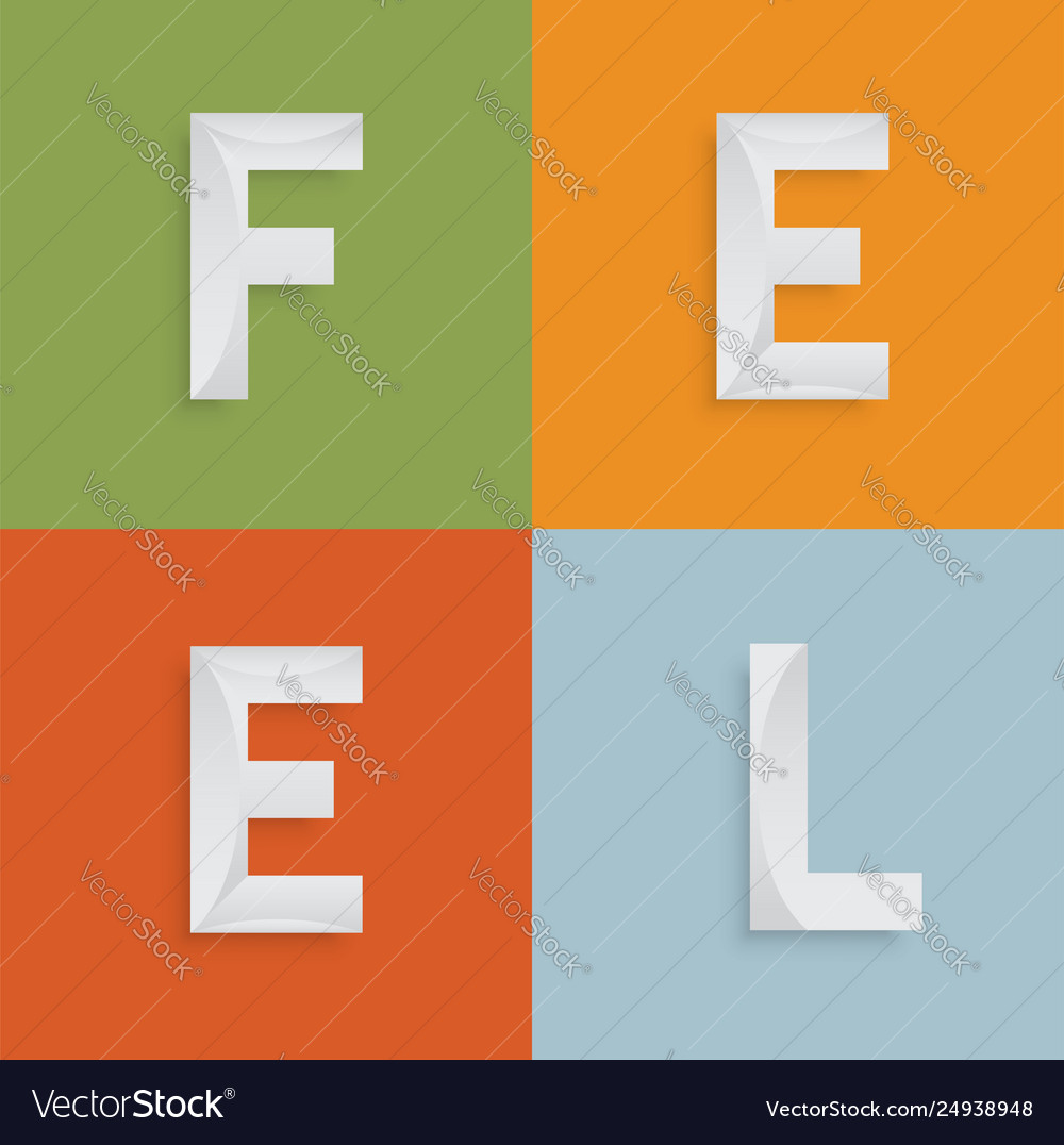 Feel Four Letter Word For Websites Royalty Free Vector Image