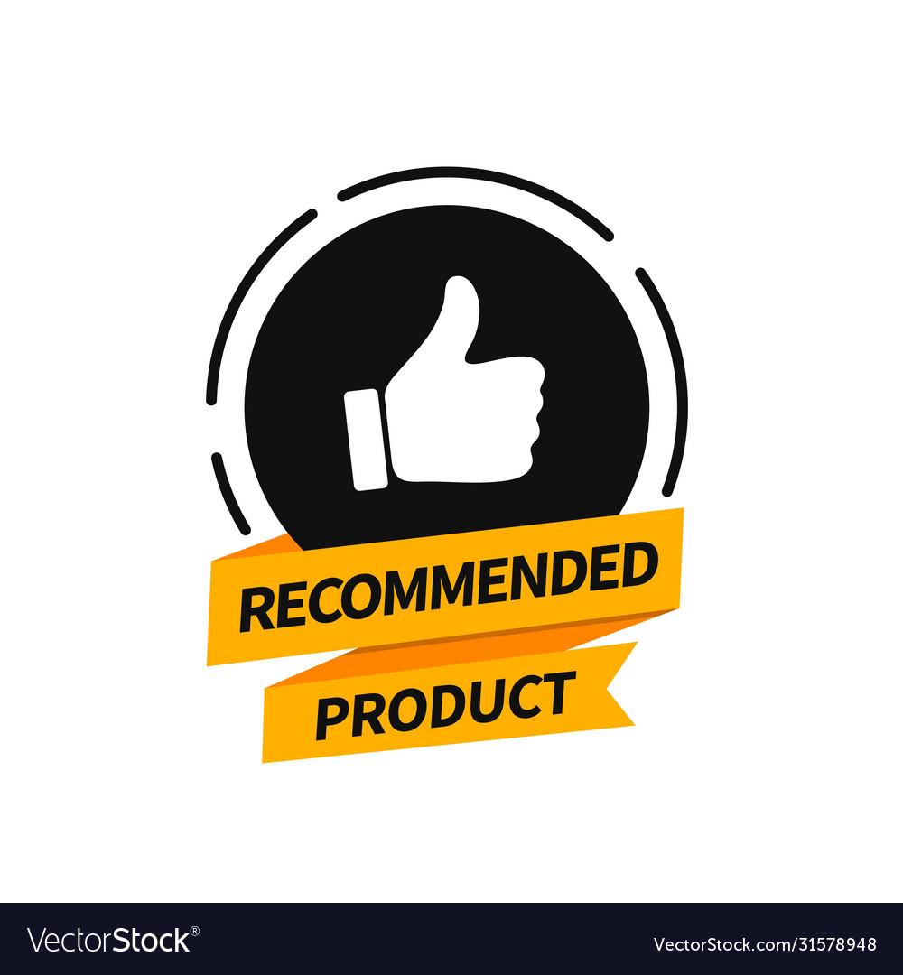Flat banner recommended product Royalty Free Vector Image