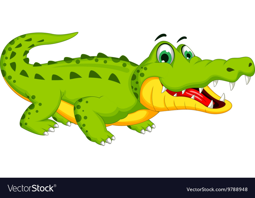 Funny crocodile cartoon posing Royalty Free Vector Image - photo#6