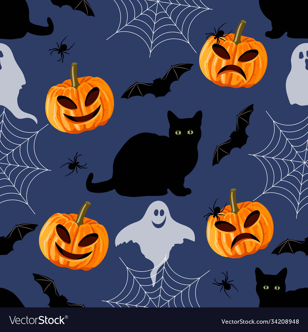 Halloween seamless pattern with black cat bat vector