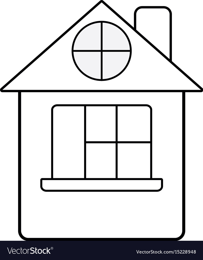 Line house with roof and window