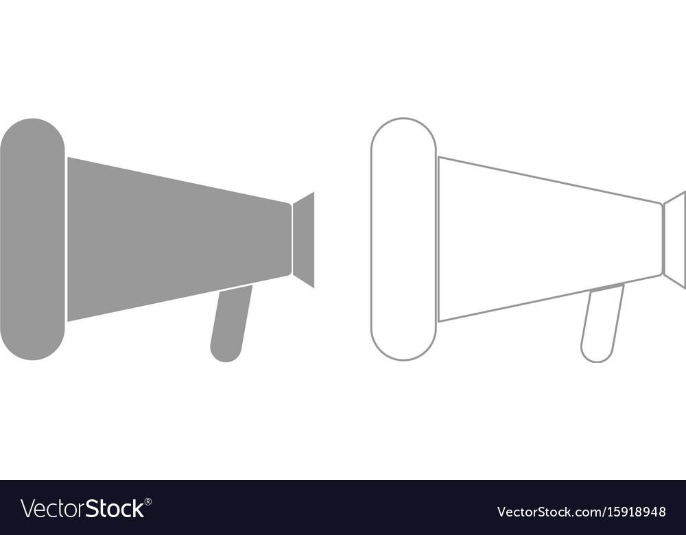 Loud speaker or megaphone grey set icon