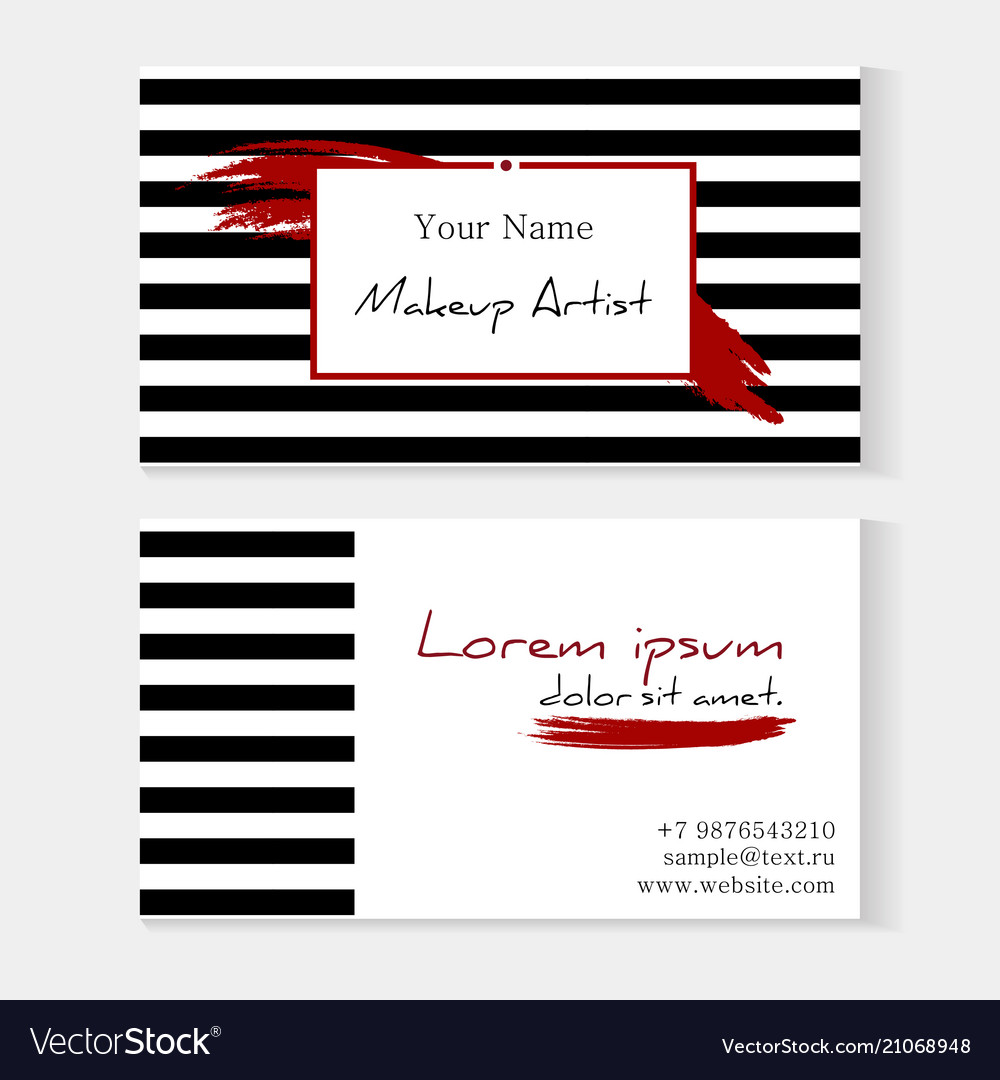 Makeup artist template business card striped vector image wajeb Image collections