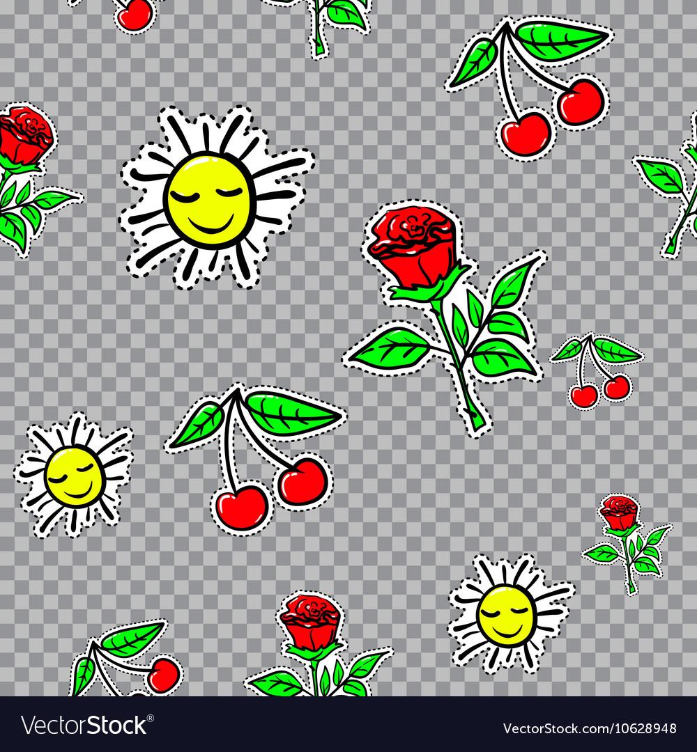 Seamless sticker pattern with cherries sun